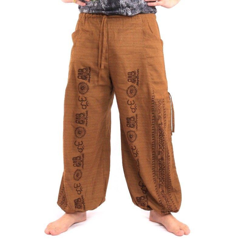 Pantalones de meditación Pantalones harén Om Dharmachakra pies de algodón de color caqui de Buda