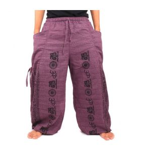 Pantalones harén Om algodón mezcla violeta