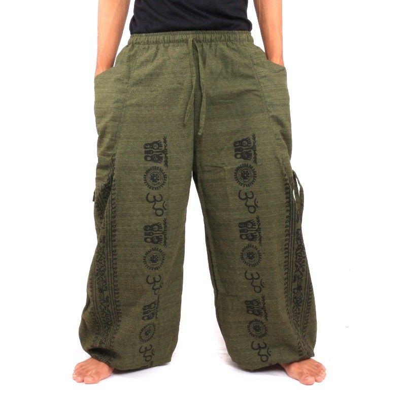 Pantalones de meditación Pantalones harén Om Dharmachakra pies de algodón verde oliva de Buda
