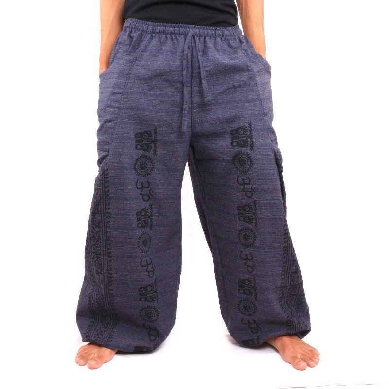 Pantalón Thai Hippie para atar Etno aplicación Cottonmix.