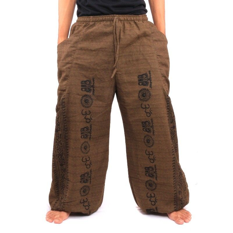 Pantalones tailandeses Etno Imprimir Cottonmix marrón