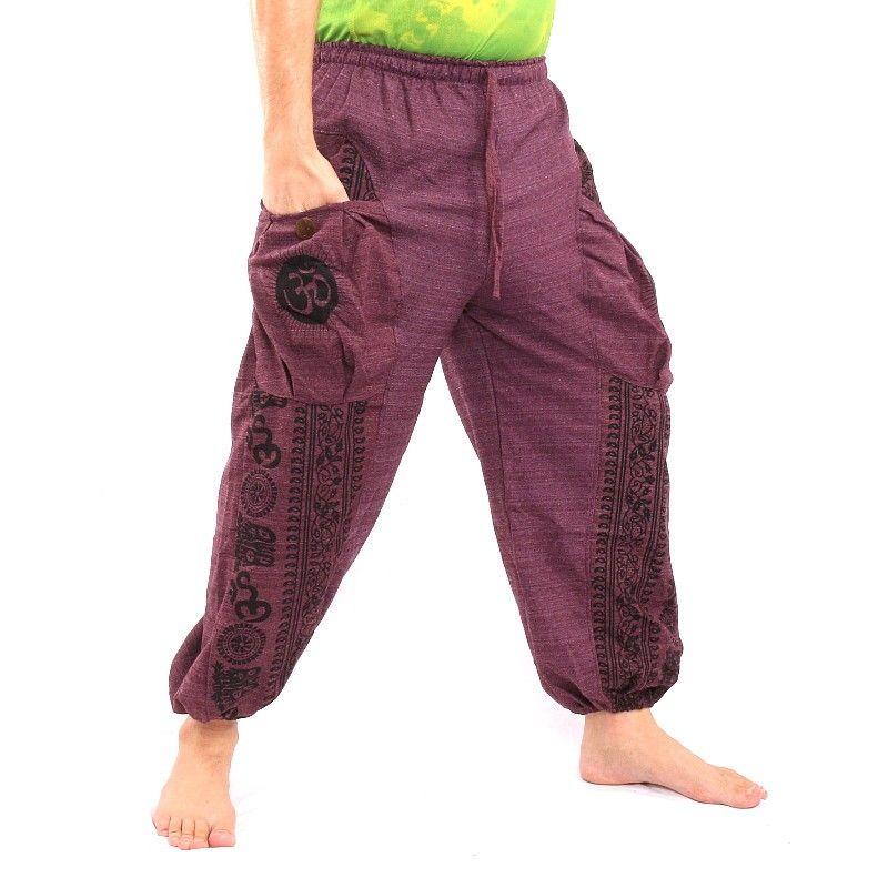 Pantalón tailandés hippie para atar el patrón del Tíbet.