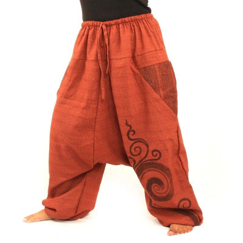 pantalones de harén de algodón estampado naranja