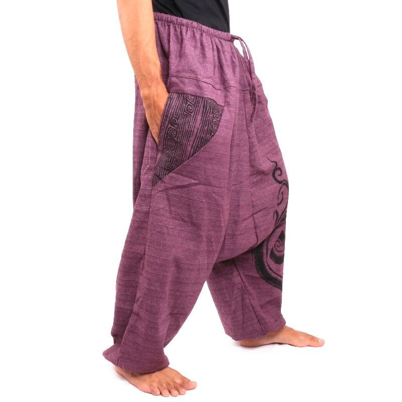 Pantalones harem Pantalones holgados con estampado de algodón morado.