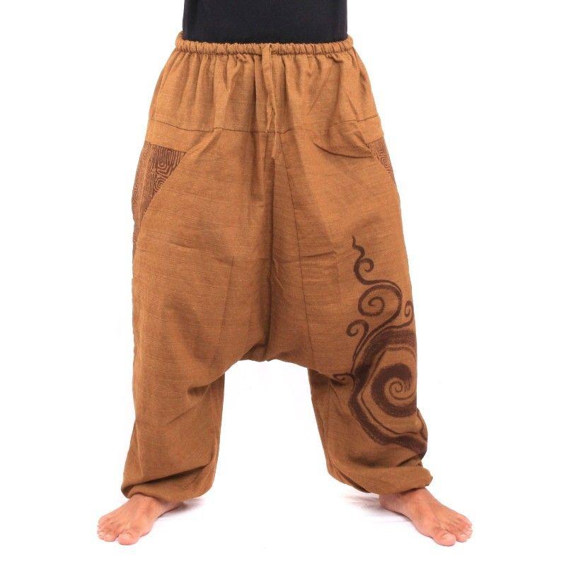 Pantalón Aladdin con diseño espiral espiral algodón estampado caqui