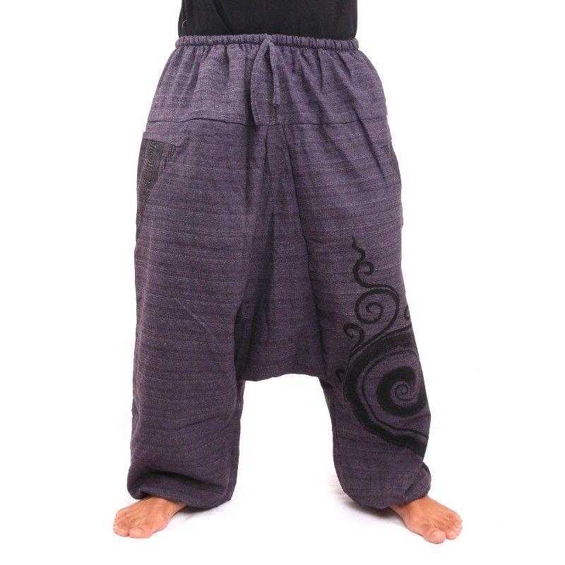 Pantalones harem Pantalones holgados con estampado de algodón magenta oscuro