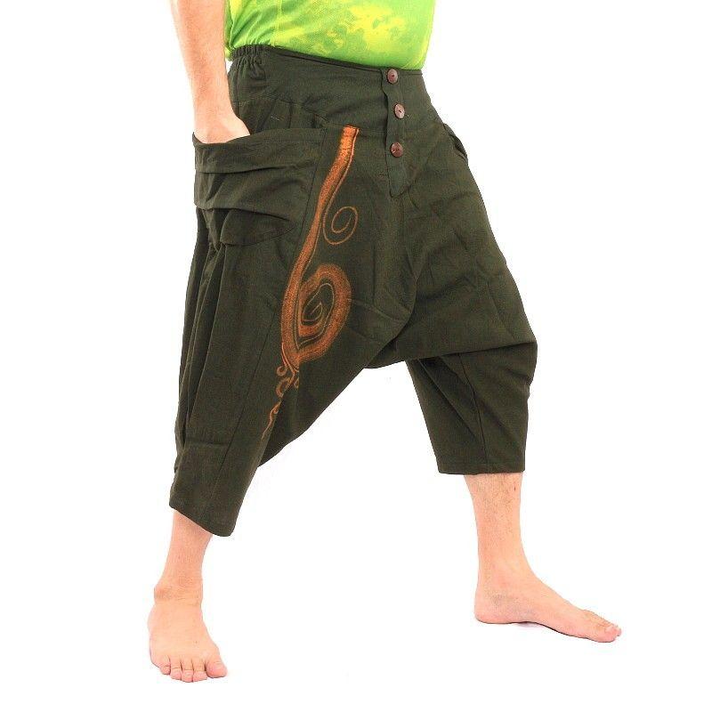 3/5 Haremshose Baggy Pants mit Spiral Muster aus Baumwolle oliv