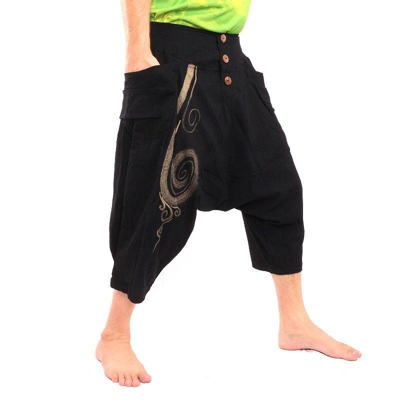 Pantalones holgados 3/5 harem con patrón de espiral en algodón negro