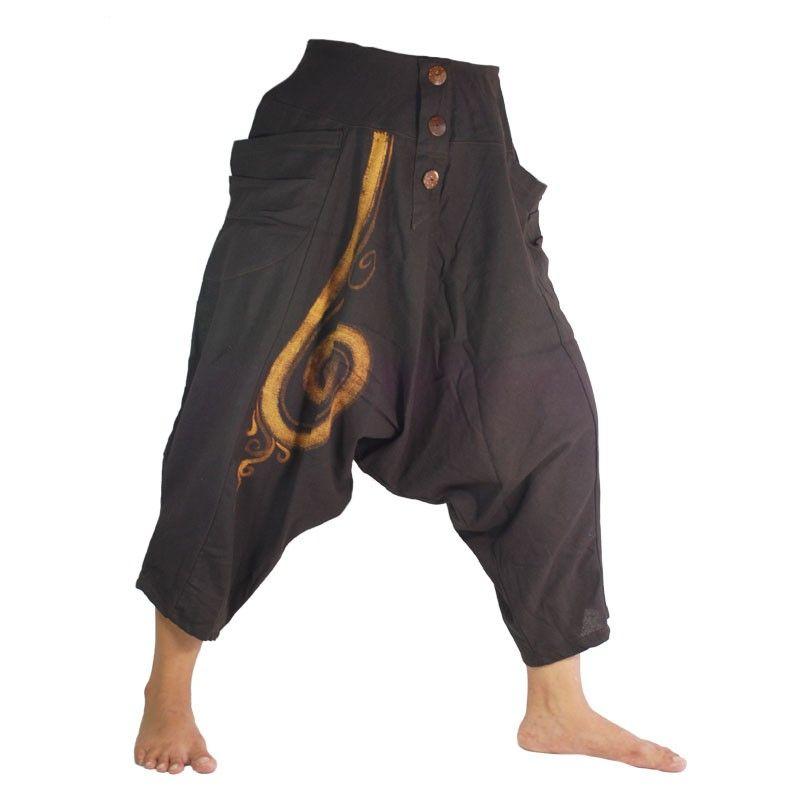 3/5 Harem pants with cotton spiral dark brown