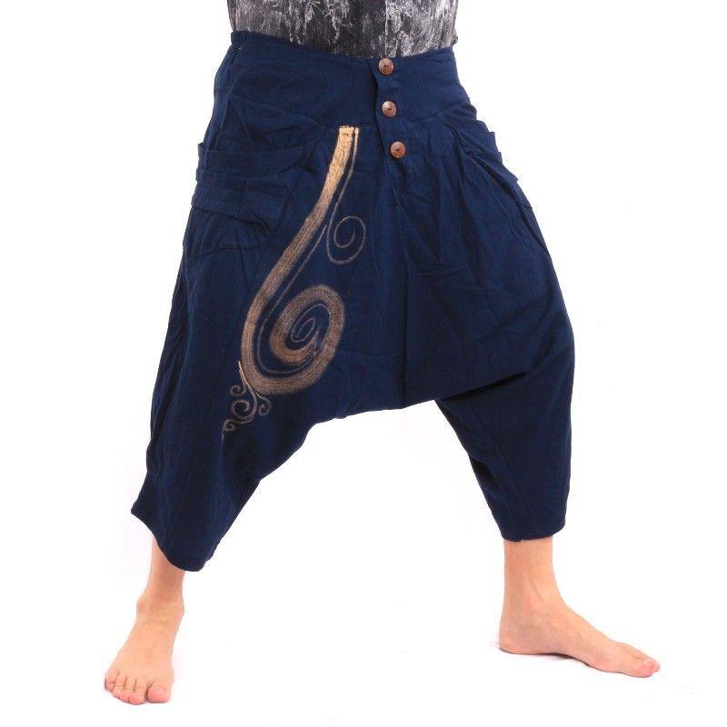 Pantalones harem 3/5 con estampado en espiral en algodón azul oscuro