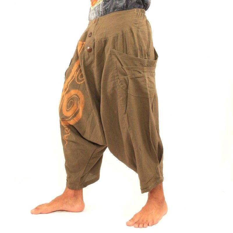 3/5 Harem pants with spiral pattern in cotton Khaki