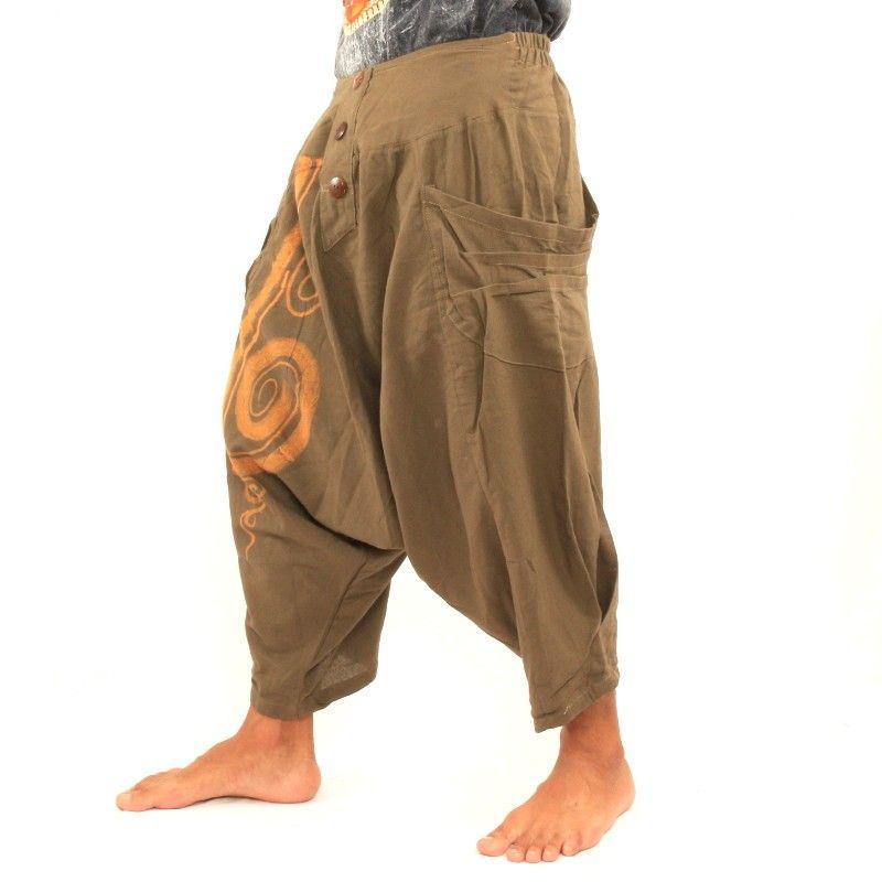 3/5 pantalones de harén con forma de espiral de algodón color caqui