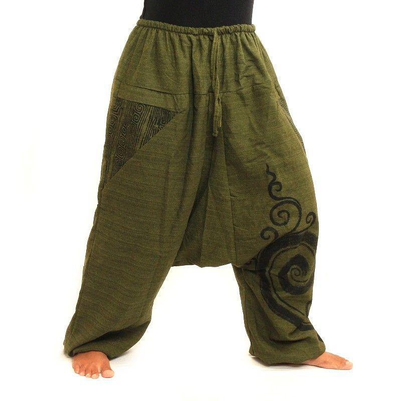Harem pantalones de algodón impresa verdes