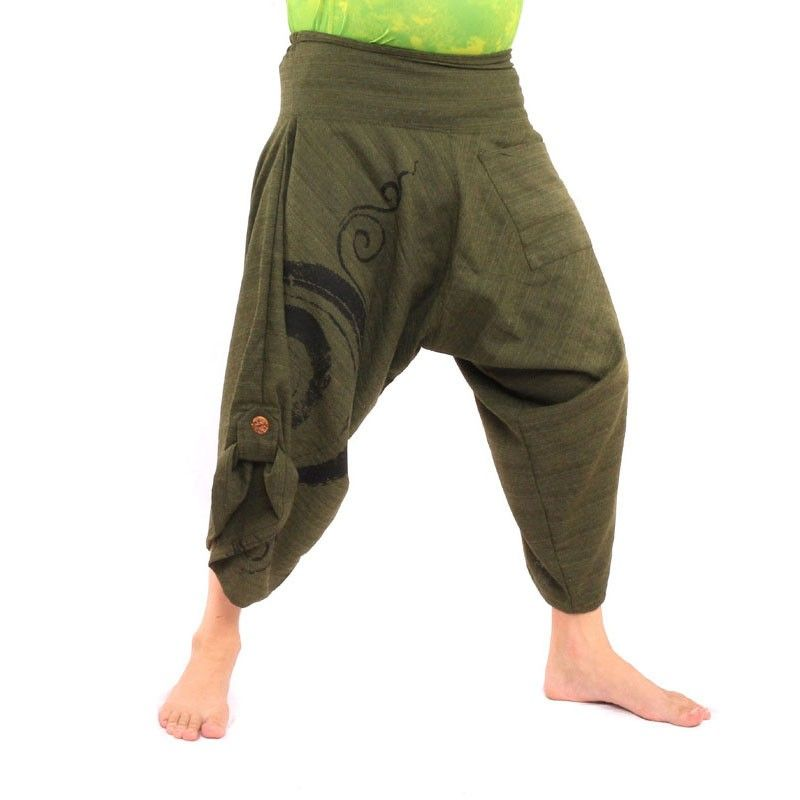 3/5 Harem pants with spiral pattern in cotton olive