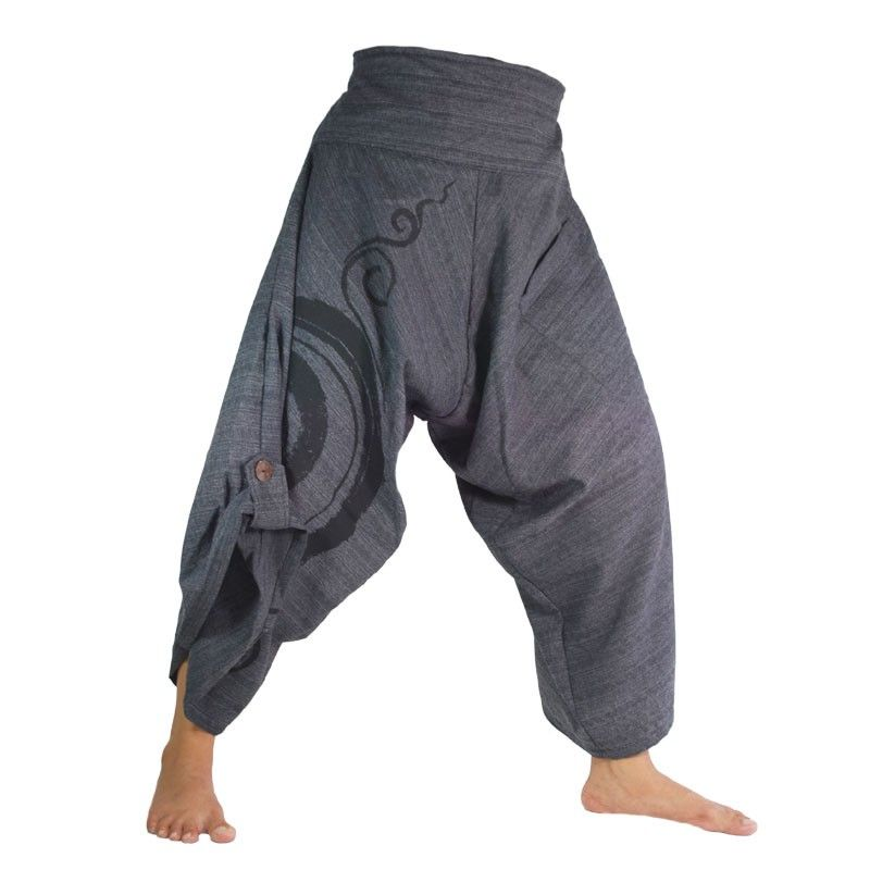 3/5 Harem pants with spiral pattern in cotton black