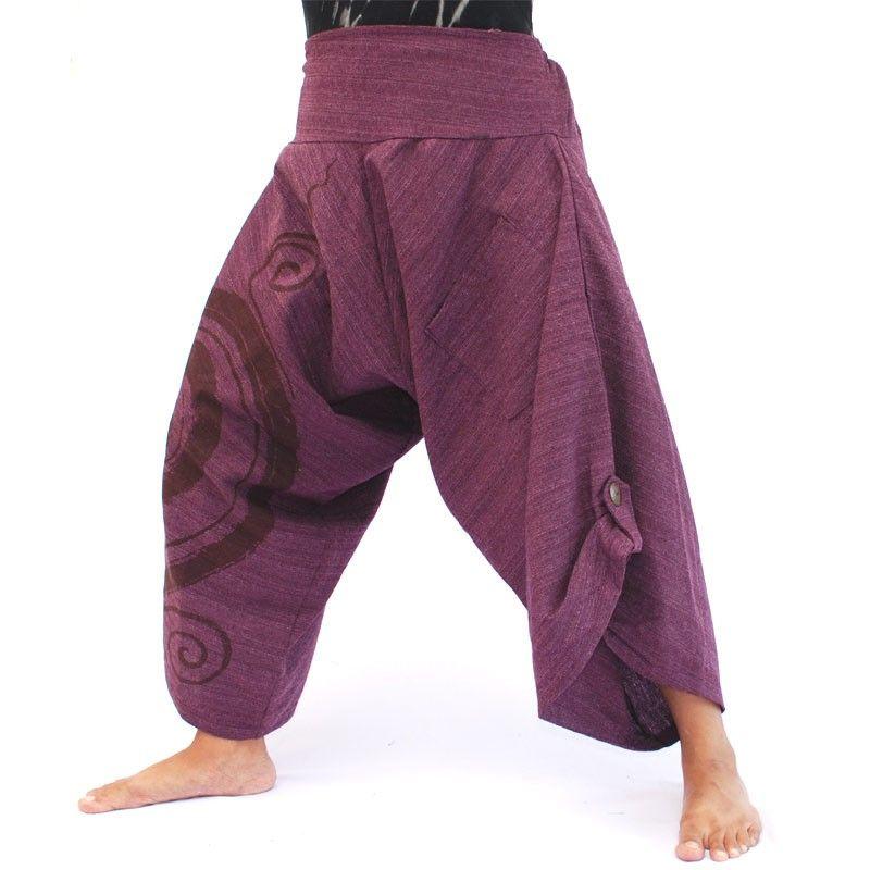 3/5 Harem pants with spiral pattern cotton magenta