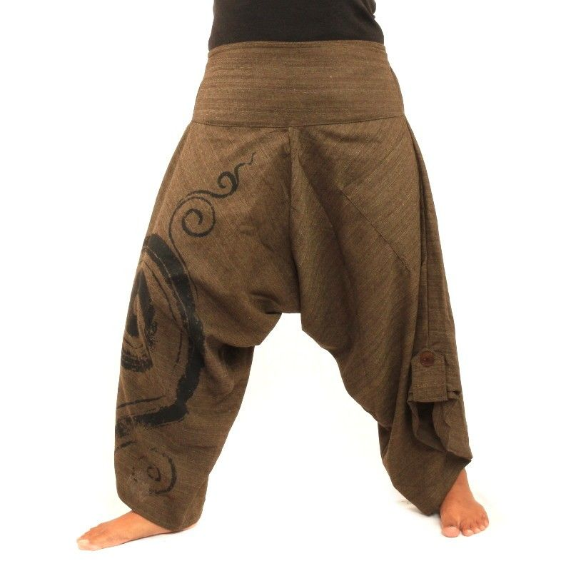 Pantalones holgados 3/5 harem con patrón de espiral de algodón marrón