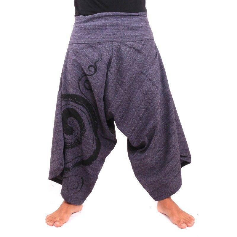 3/5 pantalones de harén de algodón azul con forma de espiral