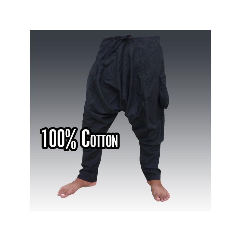 pantalones harén - algodón - negro