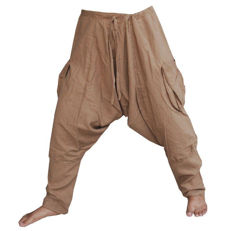 Pantalones harem Pantalones holgados - algodón - marrón