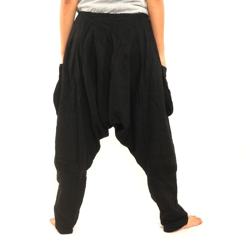 Black Harem Pants: Buddha Pants offers pants in 3 types of fabrics. Winter: Cozy, thick, % organic cotton Fall: Crunchy, semi-stiff %, woven cotton.