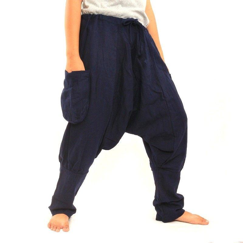 pantalones harén - de algodón - azul oscuro