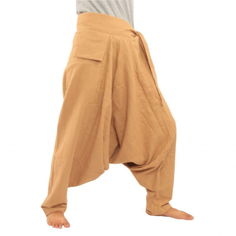 Aladinhose - mit kleiner Seitentasche seitlich zum Zubinden khaki