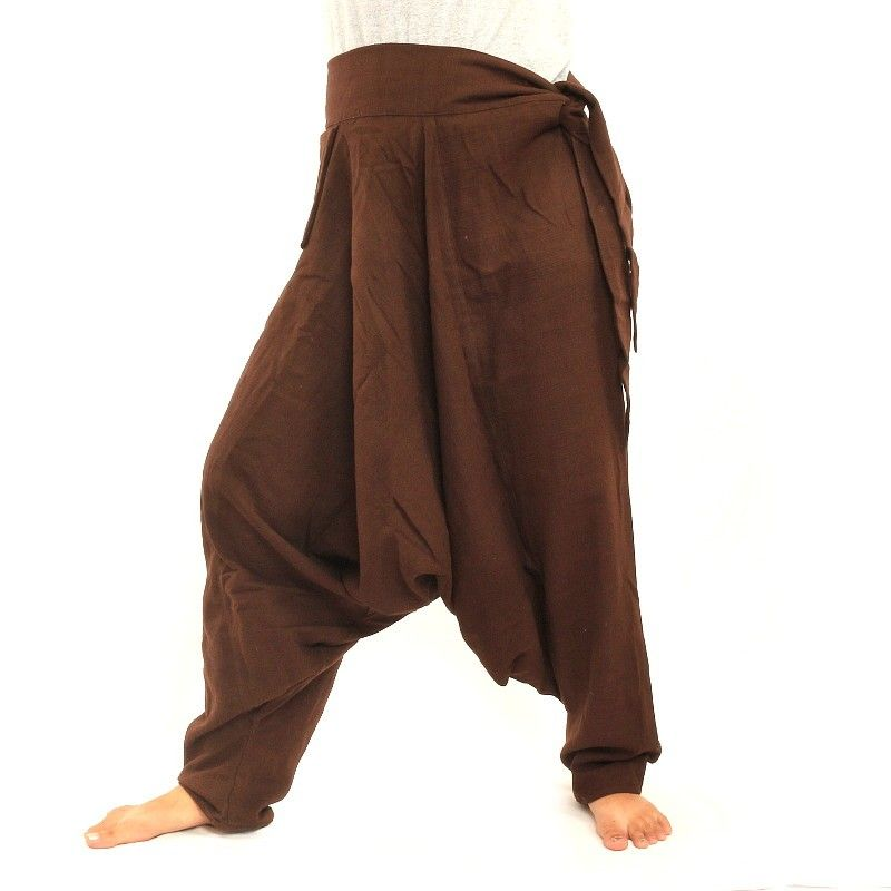 Pantalones Aladdin - con pequeño bolsillo lateral para atar marrón