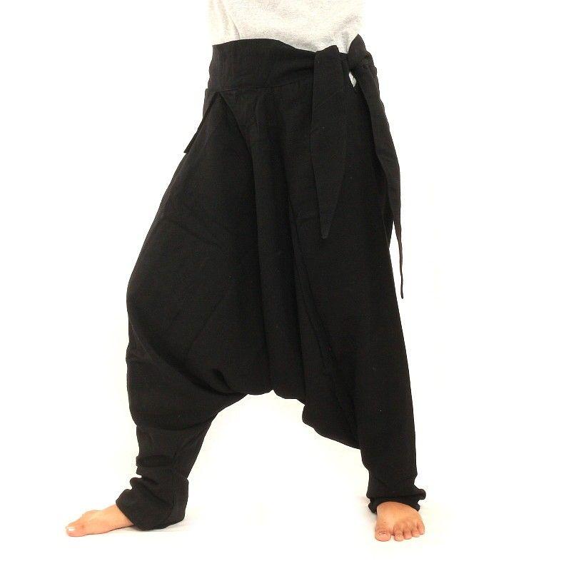 Aladinhose - mit kleiner Seitentasche seitlich zum Zubinden schwarz ...