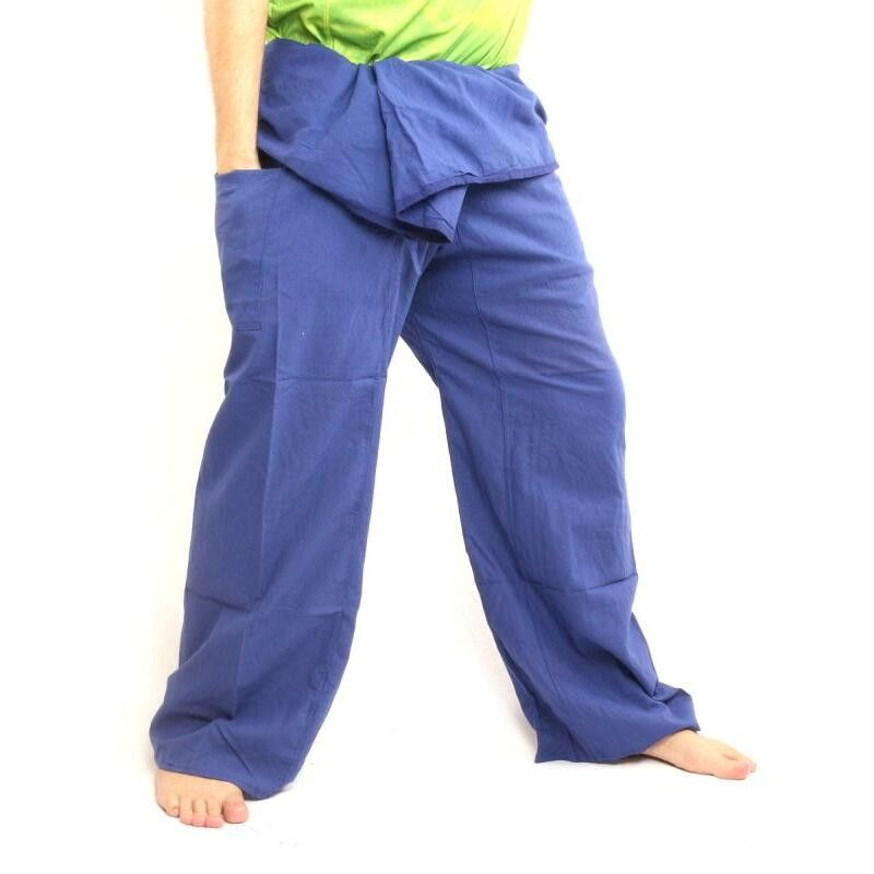 Pescador pantalones tailandeses extra larga de algodón azul