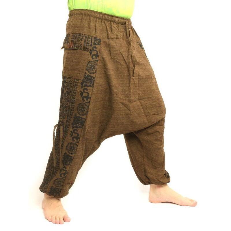 pantalones harén diseño impreso floral - marrón claro