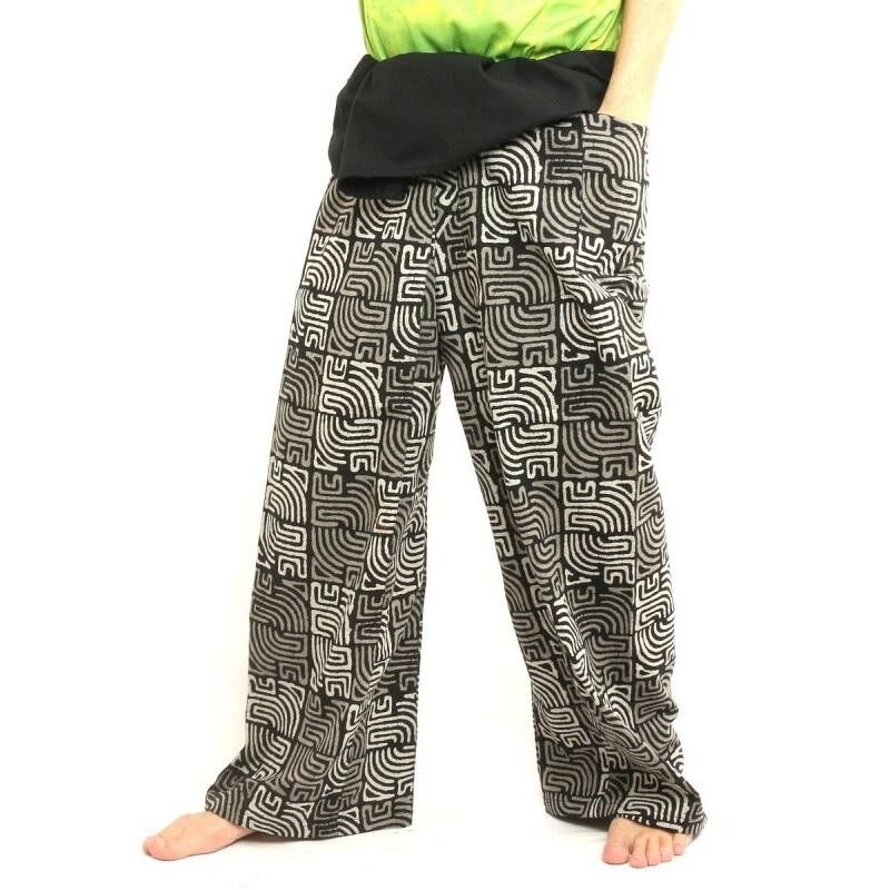 Pescador pantalones tailandeses Patchwork tamaño XL