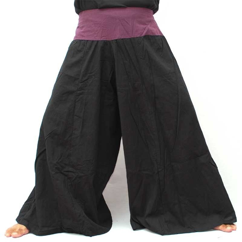 Samurai Hose Baumwolle schwarz mit violetter Borte