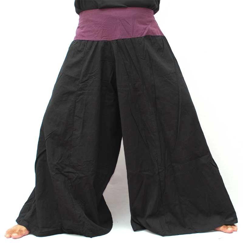 Samurai pantalones de algodón negro con ribete púrpura