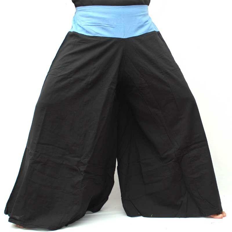 negro de algodón Samurai pantalones con borde azul