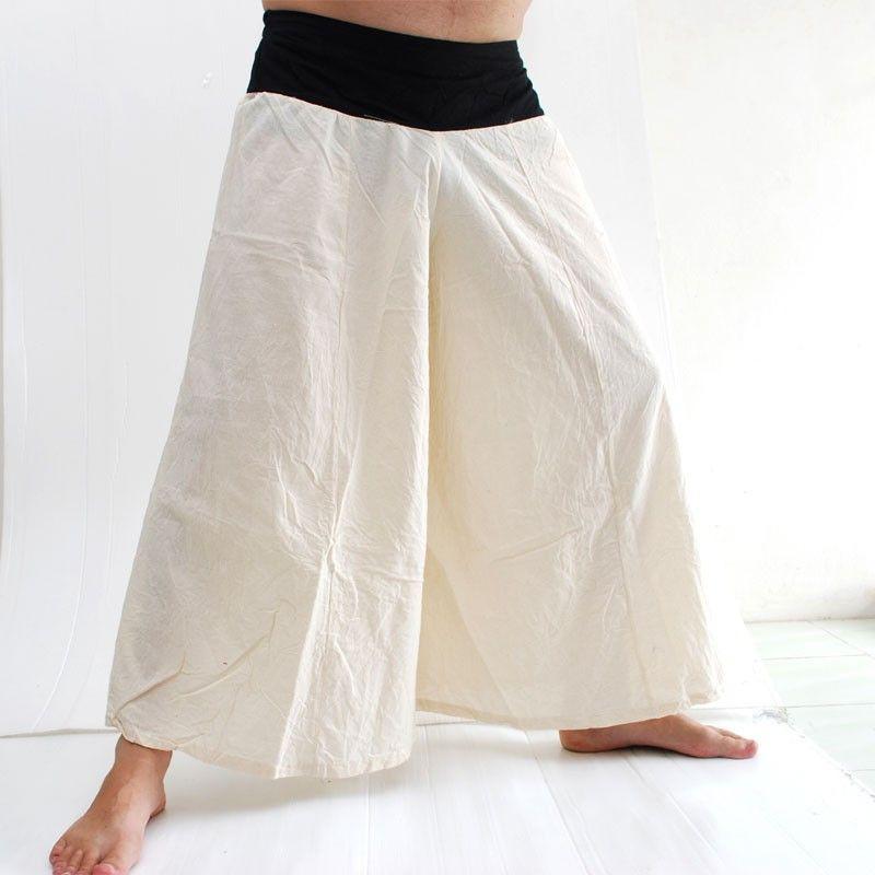 Samurai pantalones de algodón crema