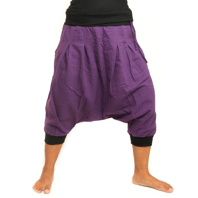 3/4 pantalón baggy - púrpura/negro con 2 bolsillos traseros