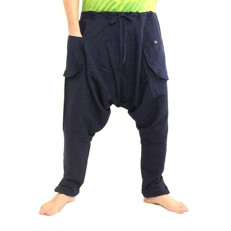 Pantalón bombacho - algodón - azul