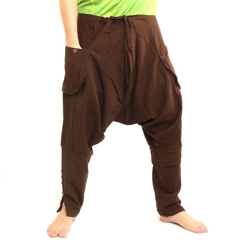 Pantalón bombacho - algodón - marrón