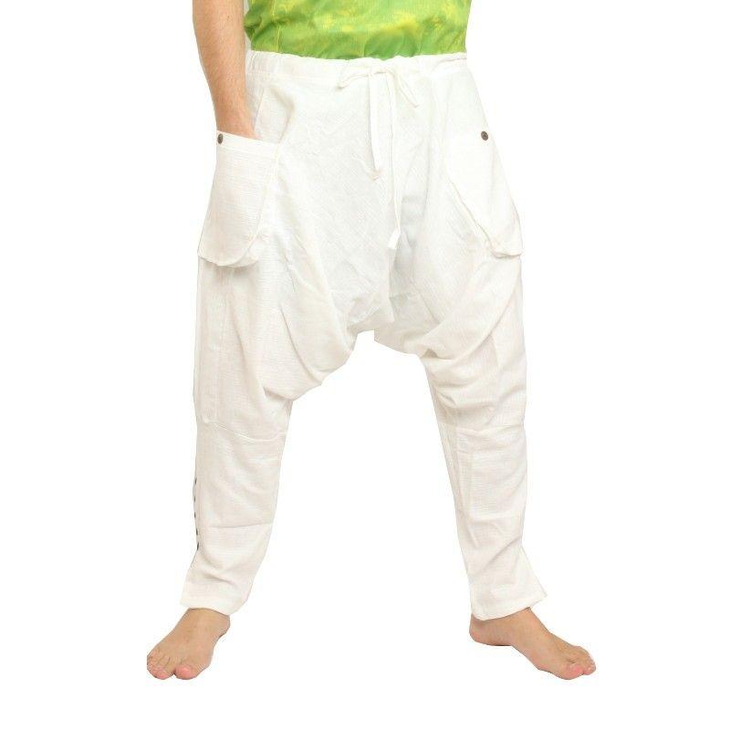 pantalones harén - algodón - blanco