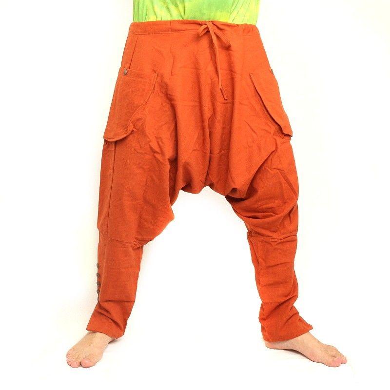 pantalones harén - algodón - naranja