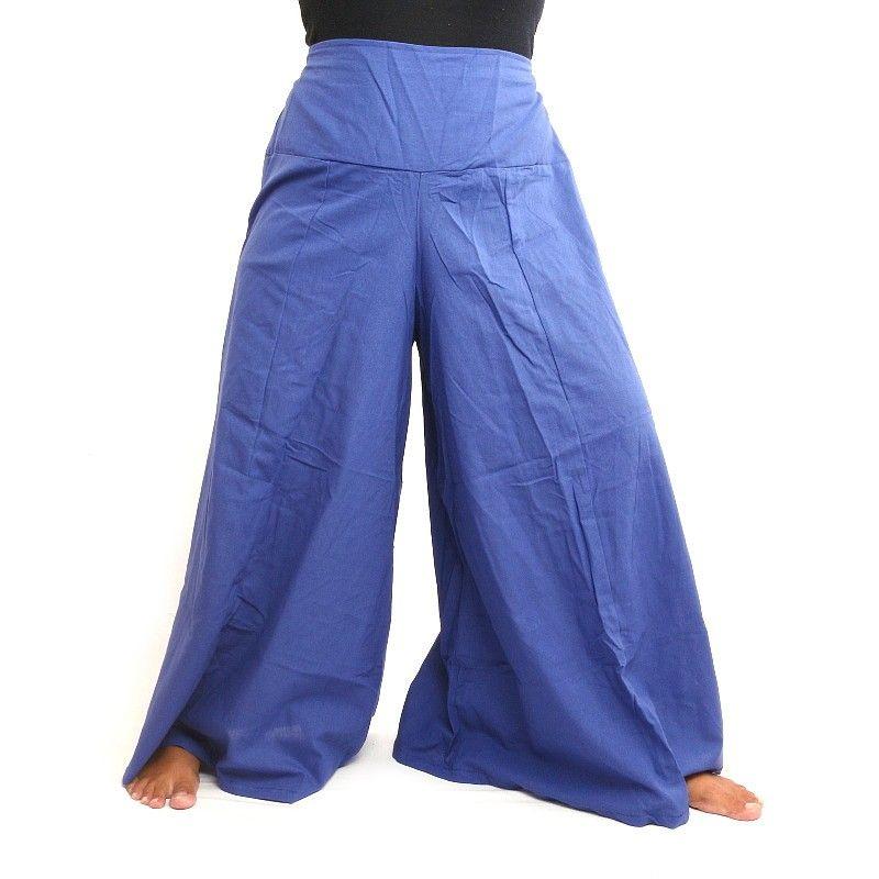 Samurai pantalones de algodón azul