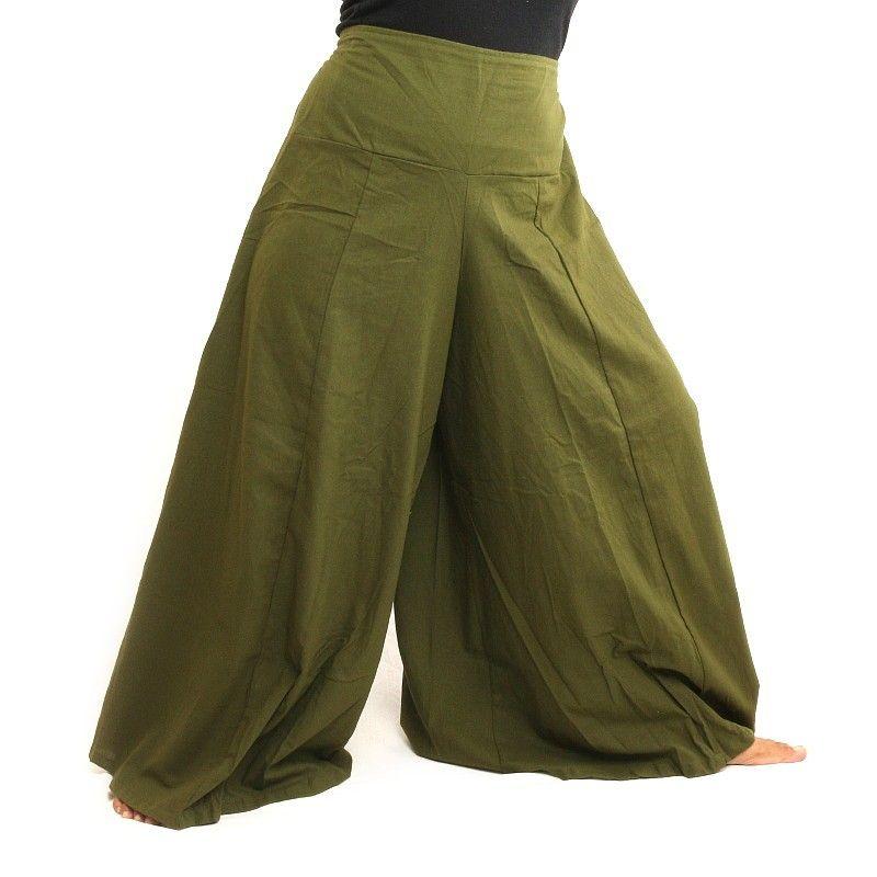 Samurai pantalones de algodón de color verde oliva oscuro