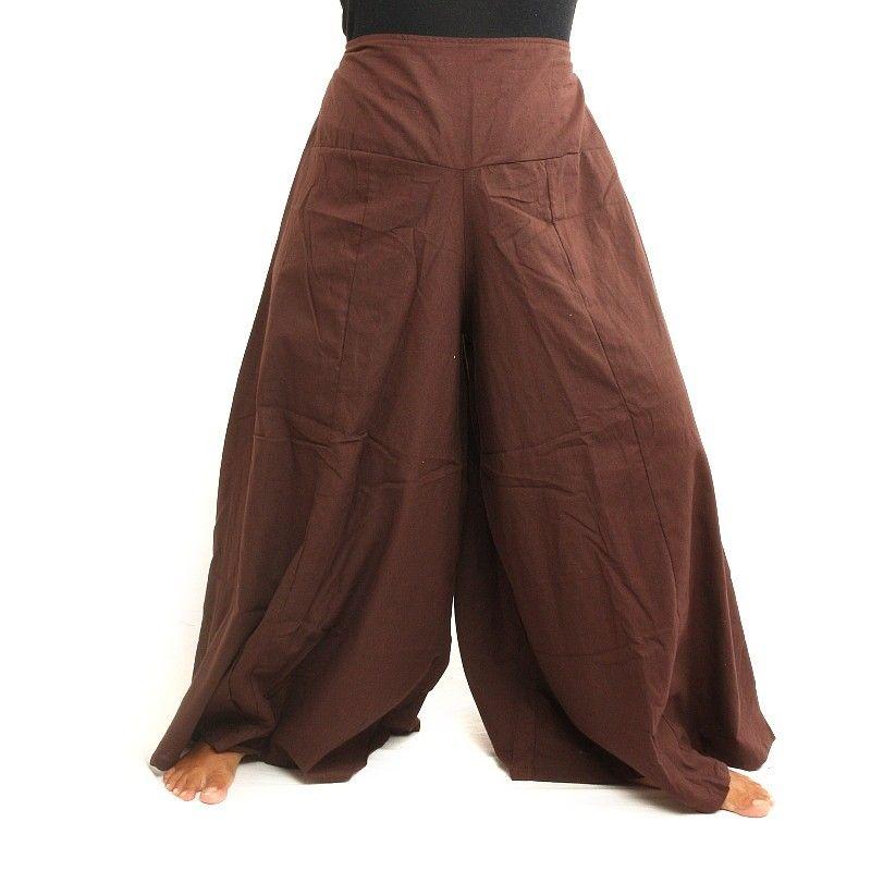 Pantalón Samurai Algodón Marrón Oscuro