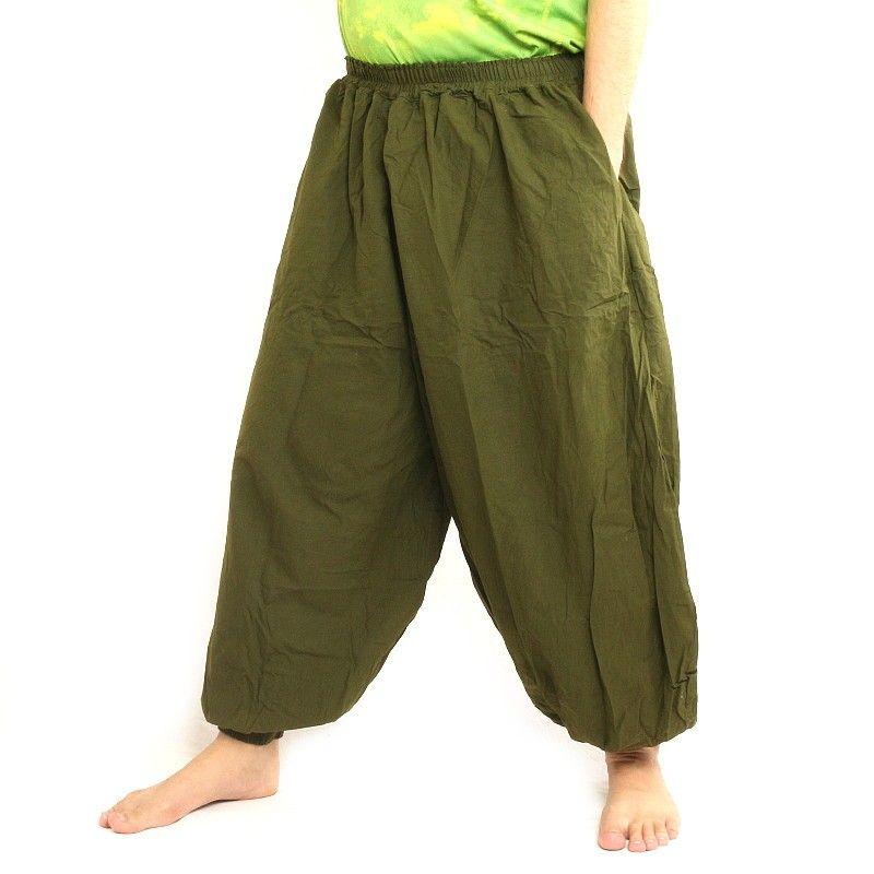Pantalones de harén algodón verde oliva