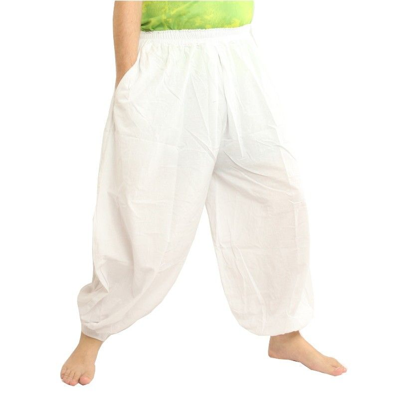 Harem pantalones de algodón - blanco