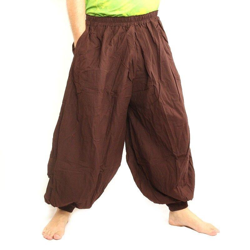 Pantalones de harén algodón marrón