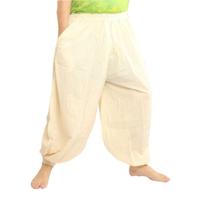 pantalones de harén de algodón sin teñir