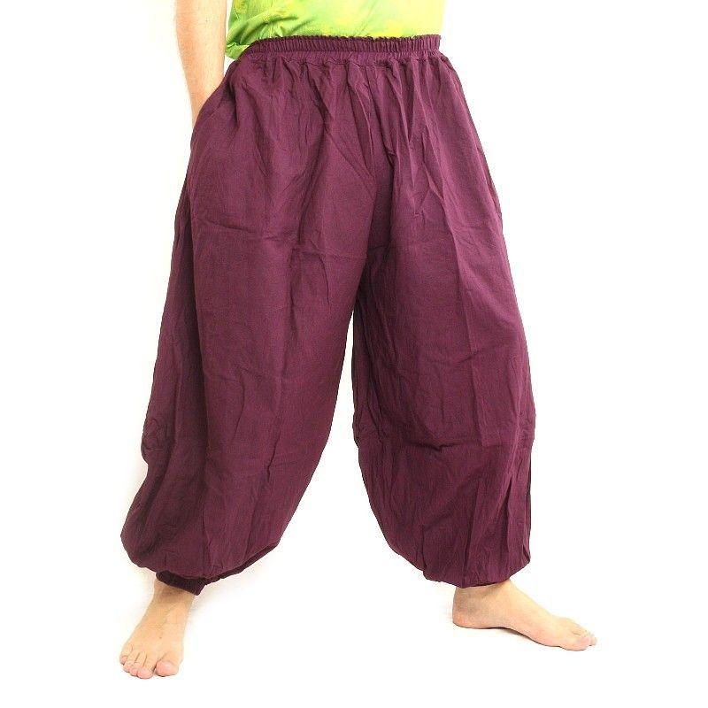 pantalones de harén de algodón de color magenta