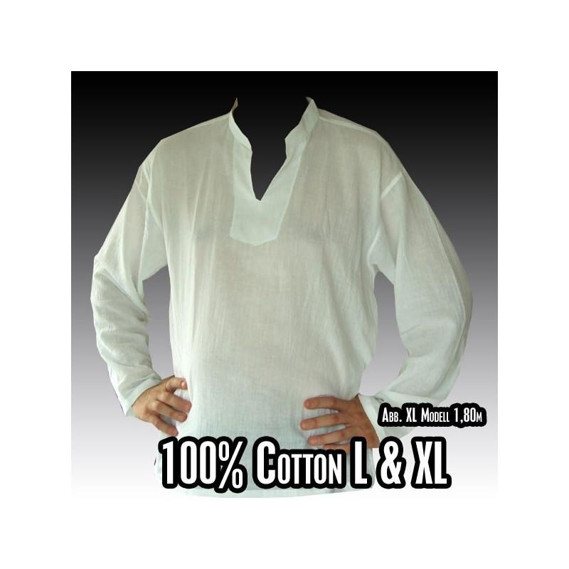 Thai shirt cotton white size l rf1 l for Thick white cotton t shirt